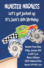 Navy Giant Monster Truck Invitations