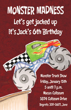 Red Giant Monster Truck Invitations