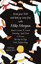 Black Belt Karate Kick Invitations