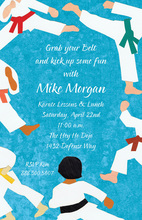 Blue Style Karate Kick Invitations