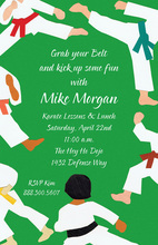 Green Belt Karate Kick Invitations