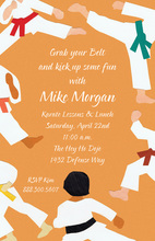 Orange Taekwondo Kick Invitations