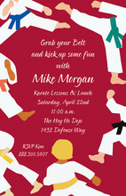 Red Belt Taekwondo Kick Invitations