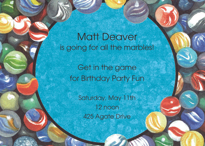 Modern Kids Colorful Marbles Invitation