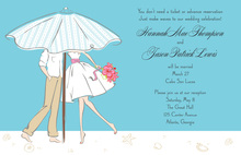 Dancing Modern Beach Couple Wedding Invitations