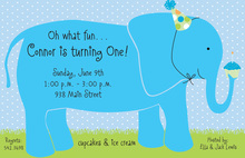 Elephant Boy Birthday Invitations
