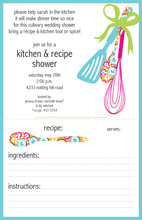Dinner Recipe Party Kitchen Tools Shower Invitation