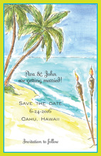 Water Color Tiki Beach Invitations
