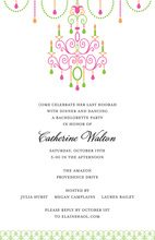 Neon Chandelier Pretty In Pink Invitations