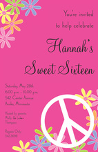 Bright Peace Floral Pink Invitations