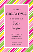 Colorful Party Stripes In Pink Invitations