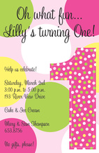 One First Birthday Girl Pink Invitations