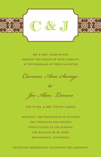 Monogram Bookplate Lime Invitations