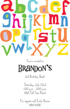 Fun Letters Alphabet Invitations