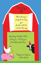Farm Animal Party Red Barn Invitations