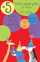 Colorful Zoo Animals Party Invitations