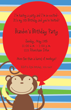 Red Balloon Monkey Party Invitations
