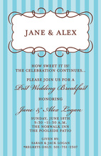 Parisian Frame Blue Stripe Invitations