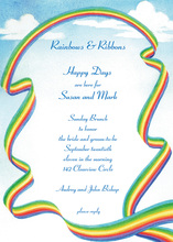 Rainbow Ribbon Border Invitation