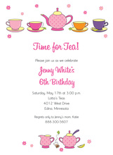 Hot Pink Tea Brunch Party Invitations