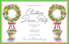 Wreath Topiaries Holiday Invitations
