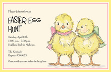 Ribbonned Easter Chicks Invitation