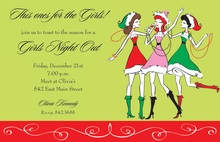 Three Christmas Santa Girls Invitation