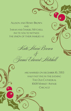 Modern Holly Scroll Invitations