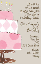 Tickled Pink Birthday Cake Invitation