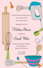 Pink Kitchen Utensils Bridal Shower Invitations