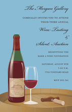 Glass Of Wine On Barrel Invitations