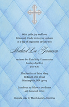 Silver Cross In Blue Argyle Invitations