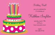 Pink Polka Dot Cake Invitations