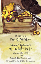 Pirates Treasure Sparkling Gold Invitations