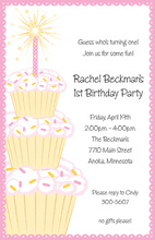 Charming Pink Sparkler Candle Birthday Invitations