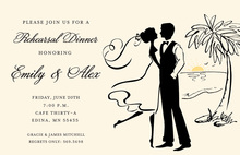Romantic Beachside Silhouette Couple Invitations