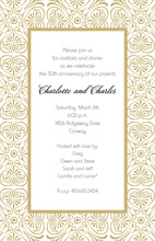 Stylish Cinder Gold Border Invitations