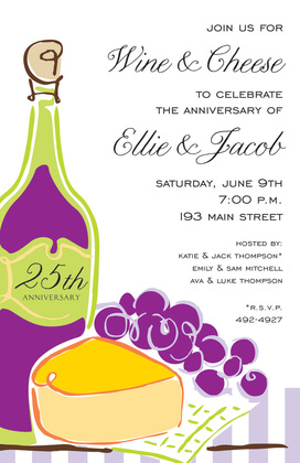 Wine Cheese Pink Illustration Invitations