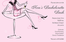 Lovely Champagne Girl In Pink Invitation