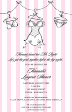 Lingerie Vertical Pink Stripe Invitations
