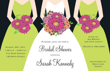 Modern Bouquet Girls Bridal Shower Invitations