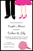 Couples Feet Pink Polka Dots Shower Invitations