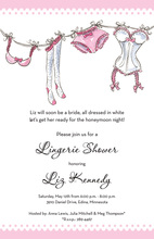 Hanging Dainty Lingerie Shower Invitations