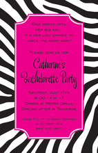 Fun Zebra Night Hot Pink Invitation