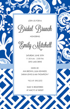 Blue Gate Border Swirl Invitations