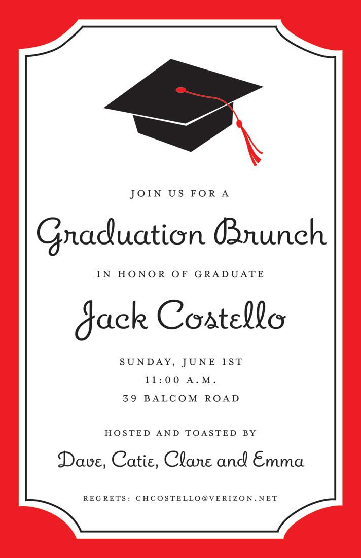Graduation Red Border Semi Formal InvitationsRed Graduation Borders