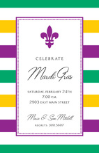 Simple Fleur Stripes Border Invitation