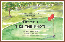 Golf Green Red Flag Invitations