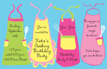 Kids Aprons Birthday Theme Invitations