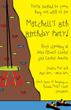Rock Climbing Party Invitations